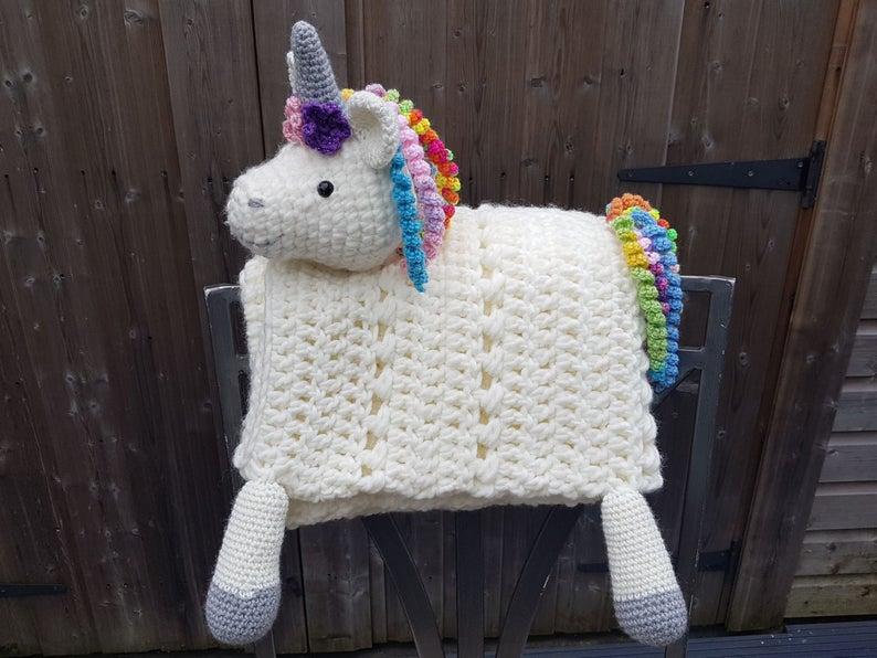 3 in 1 Rainbow Unicorn Baby Blanket Toy Lovey Security Blanket Crochet Pattern Folding Blanket #securityblankets