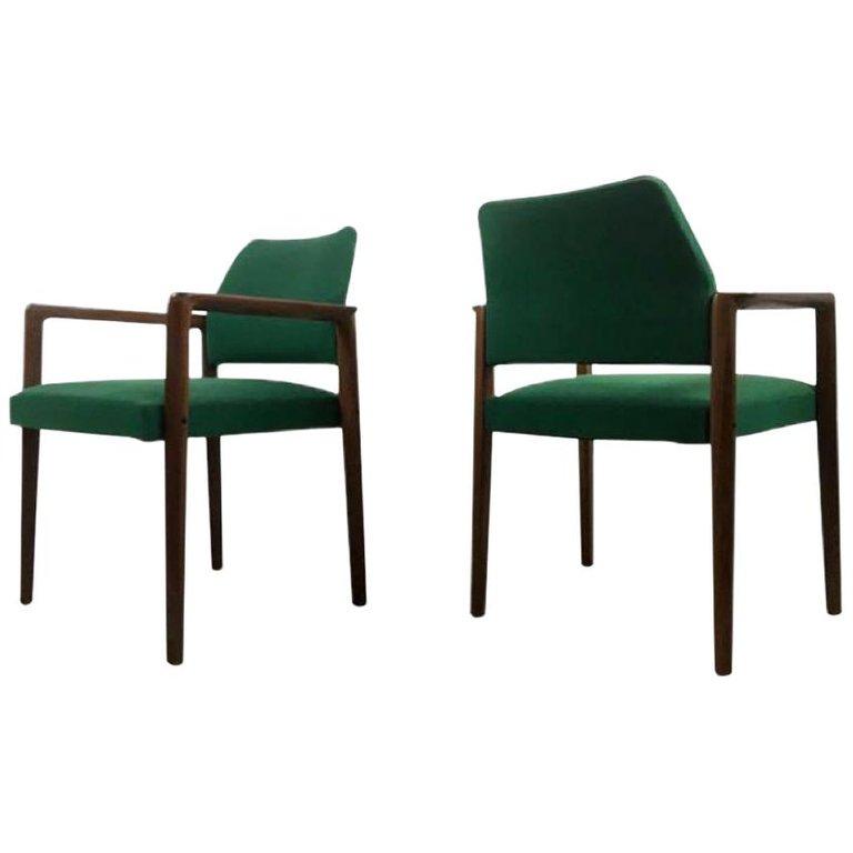 Midcentury Teak Armchairs From Wilkhahn In Green 1970s Set Of 2