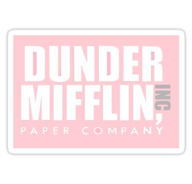 Pink Dunder Mifflin Logo Sticker By Emeliaa1 The Office Stickers Mifflin Dunder Mifflin