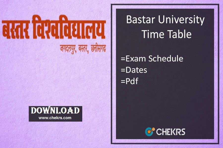 Bastar University Time Table 2019- BVVJDP BA BSc BCom Exam