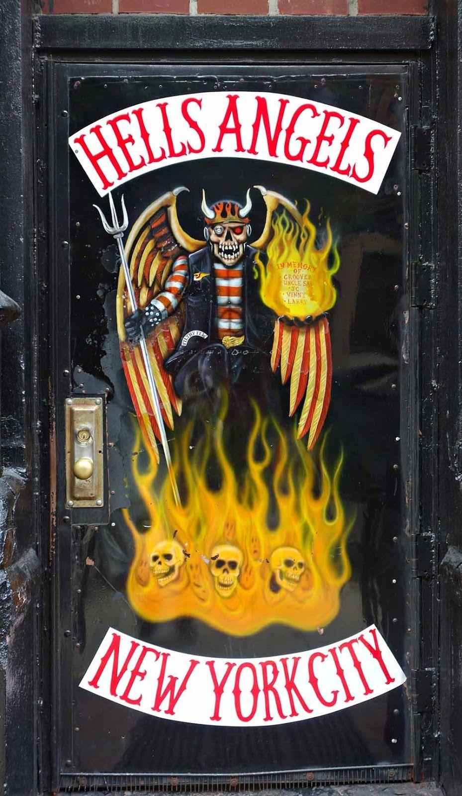 Hells Angels motorcycle gang door in New York City, New York.