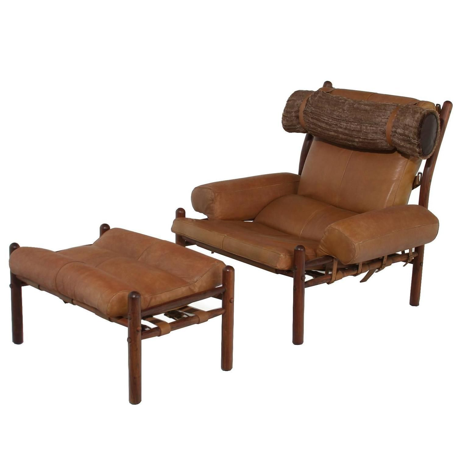 Best Armchair And Ottoman With Cognac Leather And Faux Fur 400 x 300