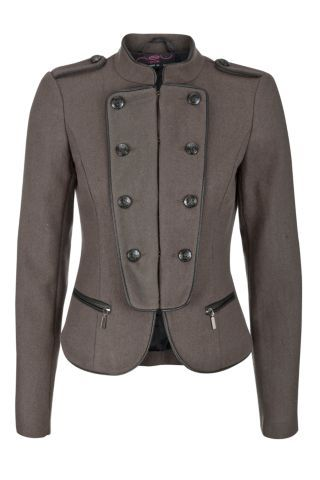New Look Mobile   Dark Green Cropped Military Jacket