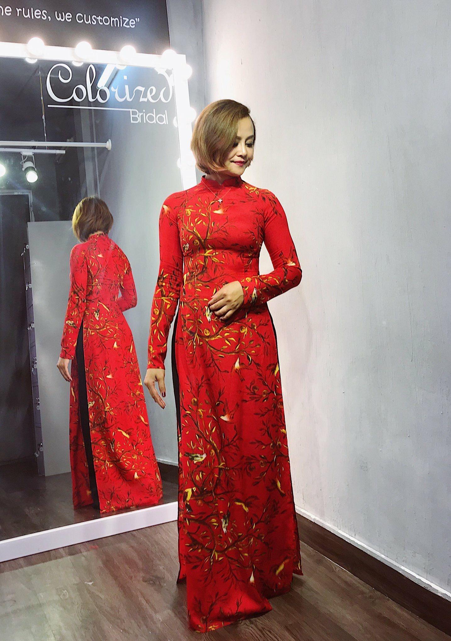 Vietnamese printed silk Ao dai áo dài lụa đỏ hoạ tiết in
