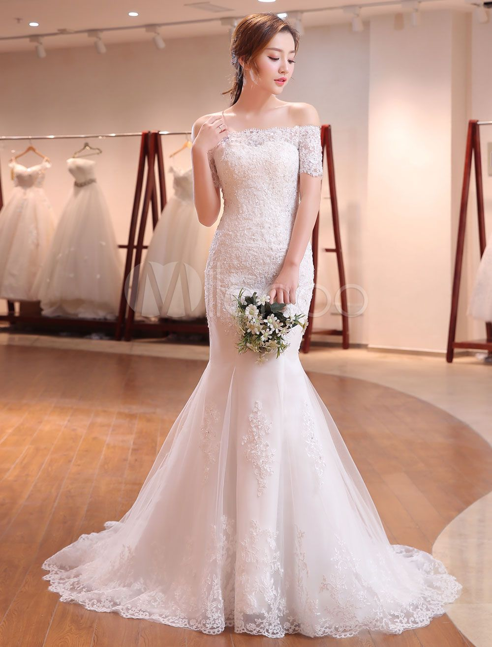 Mermaid wedding dresses lace beading off the shoulder short sleeve