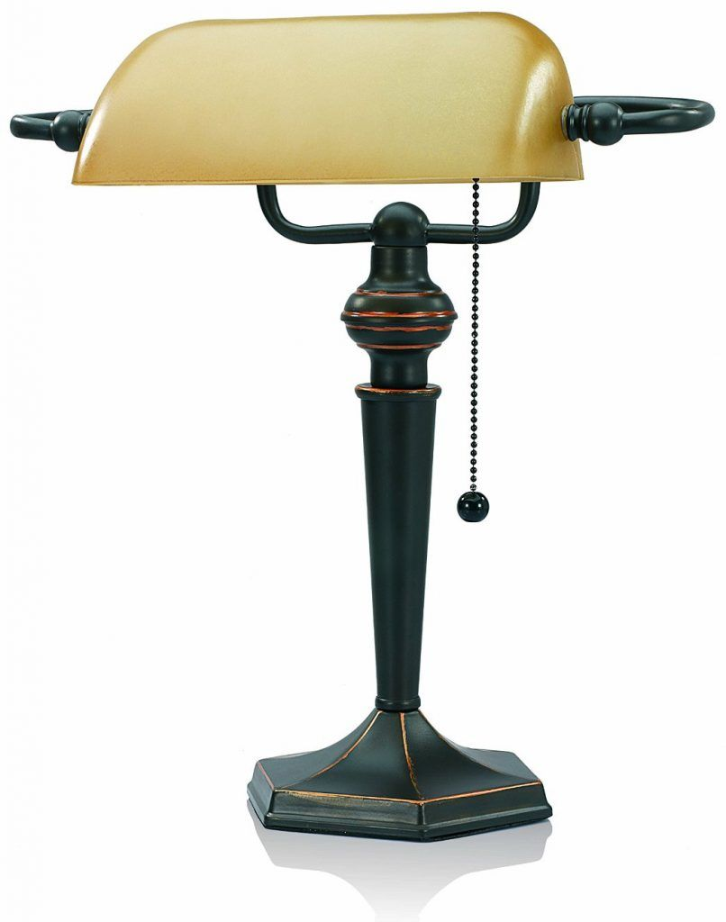 V Light Traditional Style Cfl Banker S Desk Lamp With Amber Gl Shade