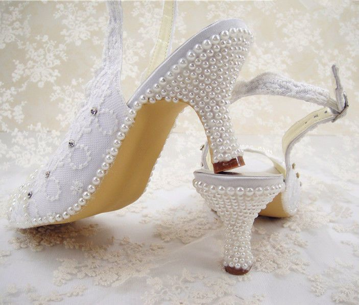 Handmade Bridal Pearl Shoes Ivory Diamante Lace Wedding