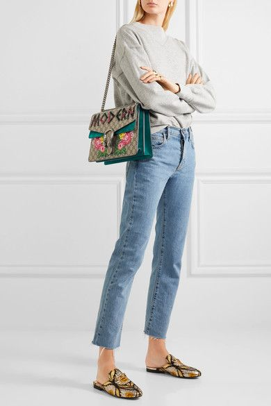 9dbd1e62de4 Gucci - Dionysus Medium Embellished Appliquéd Coated-canvas And Suede  Shoulder Bag - Beige