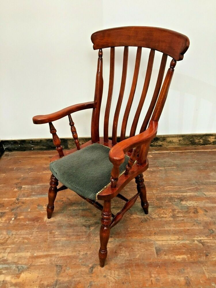 FARMHOUSE CHAIRS / ARMS / SPINDLE LEGS / DARK WOOD / GREEN