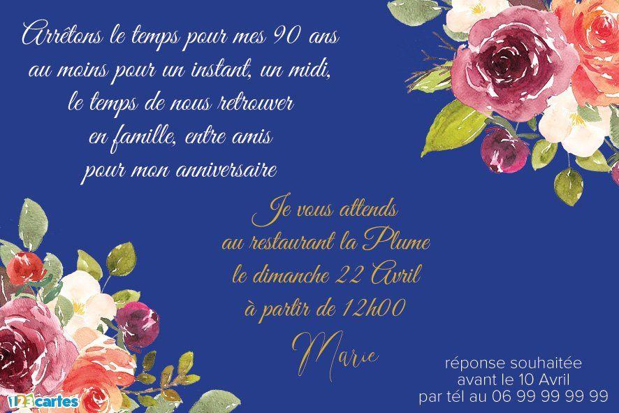 invitations anniversaire 90 ans