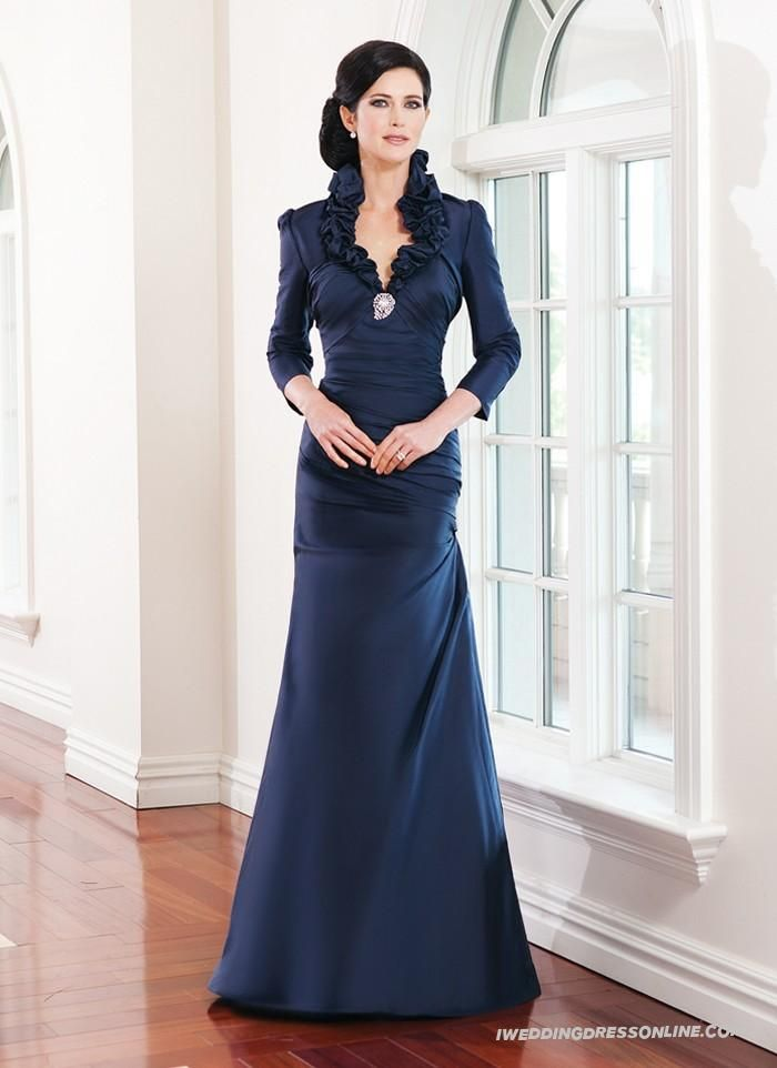 7c2d094cebc09 Silk A-line Ruffled Halter Collar Neckline Mother of The Bride Dress with  Sleeves