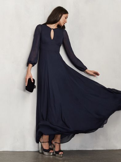 Reformation Amalia Georgette Gown ---  full length georgette gown with a keyhole neckline with button closure. It's also got sheer long sleeves and a V back with hook/eye closure.