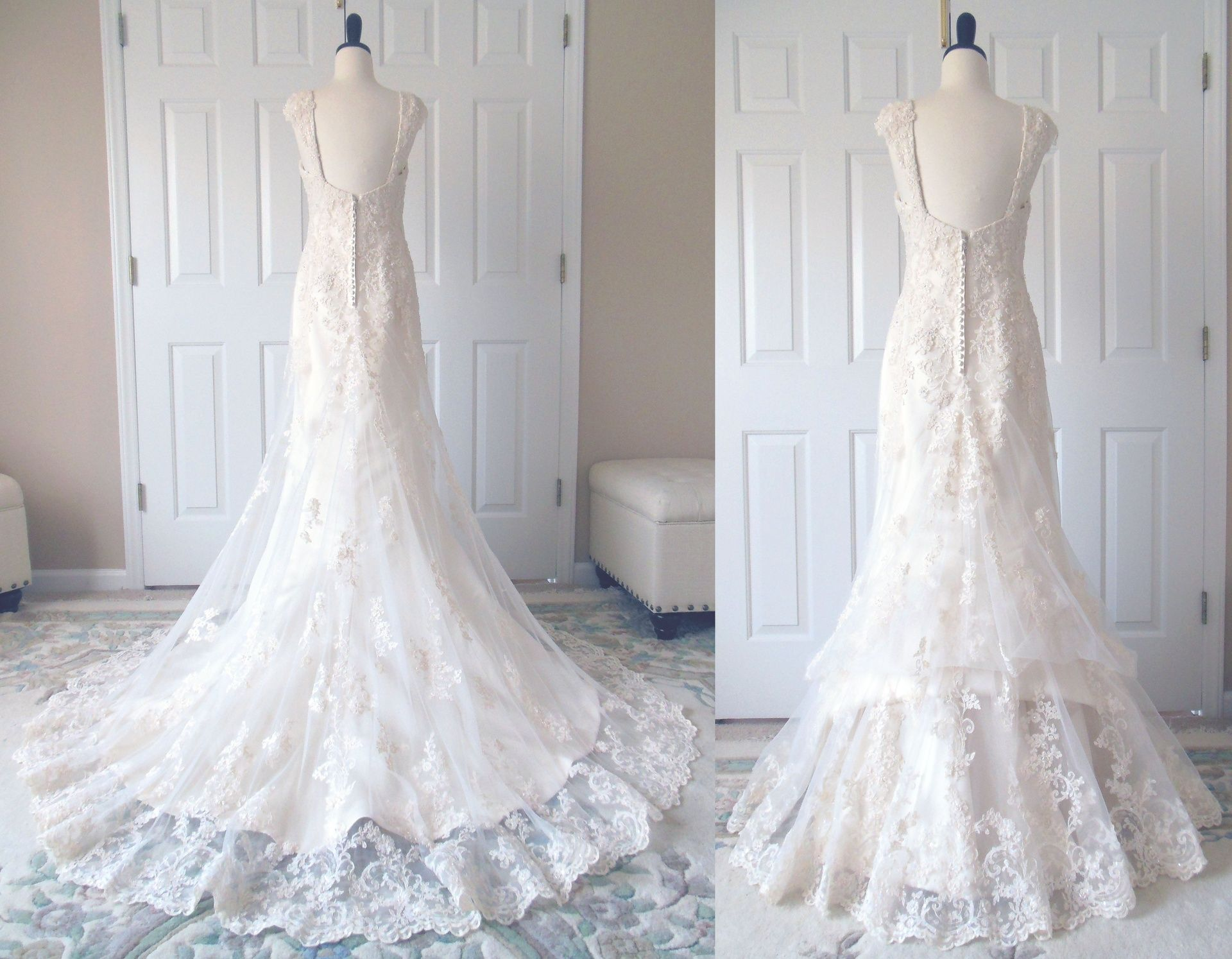 A Traditional 4-point Bustle In The Lace Overlay. A French