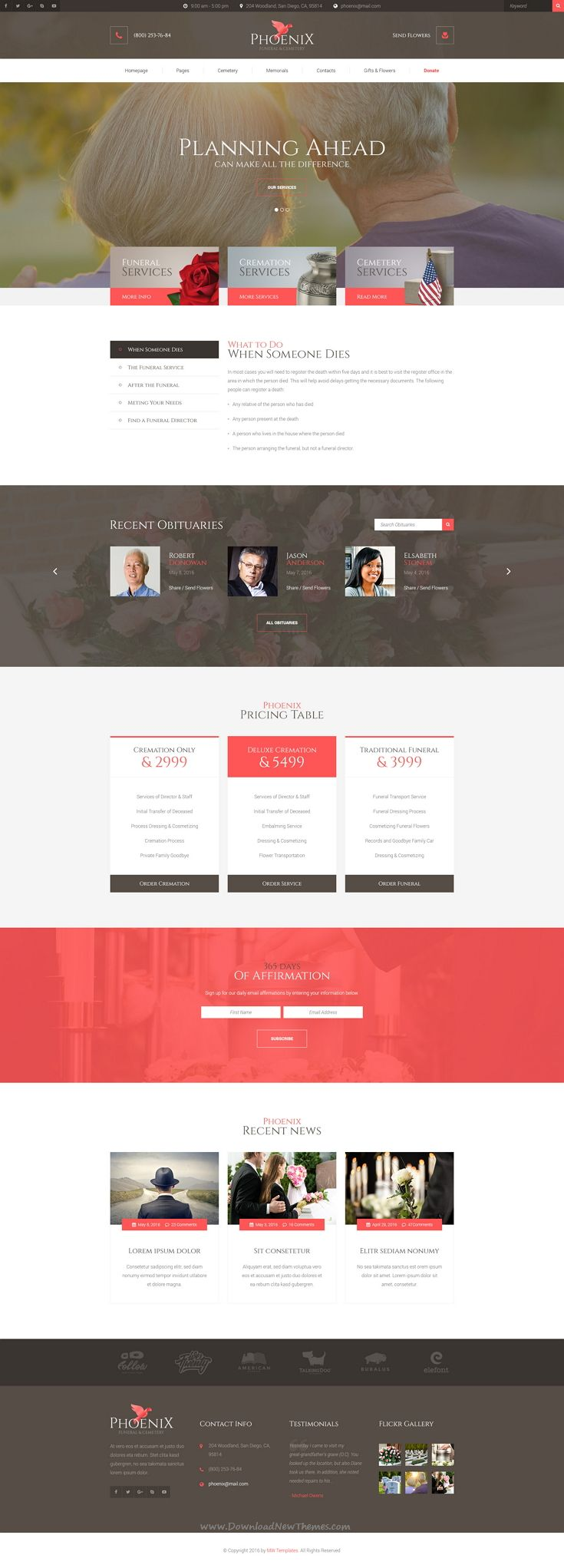 Phoenix   Funeral Service, Funeral Home U0026 Cemetery PSD Template. Website  Design ...