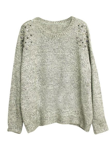 Grey Long Sleeve Shoulder Rivet Rhinestone Sweater (GREAT STORE AND EVEN BETTER PRICES!)