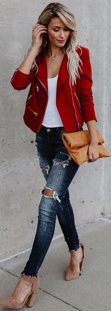 Really like the style and color of the red jacket, but can do without holes in my jeans ;)