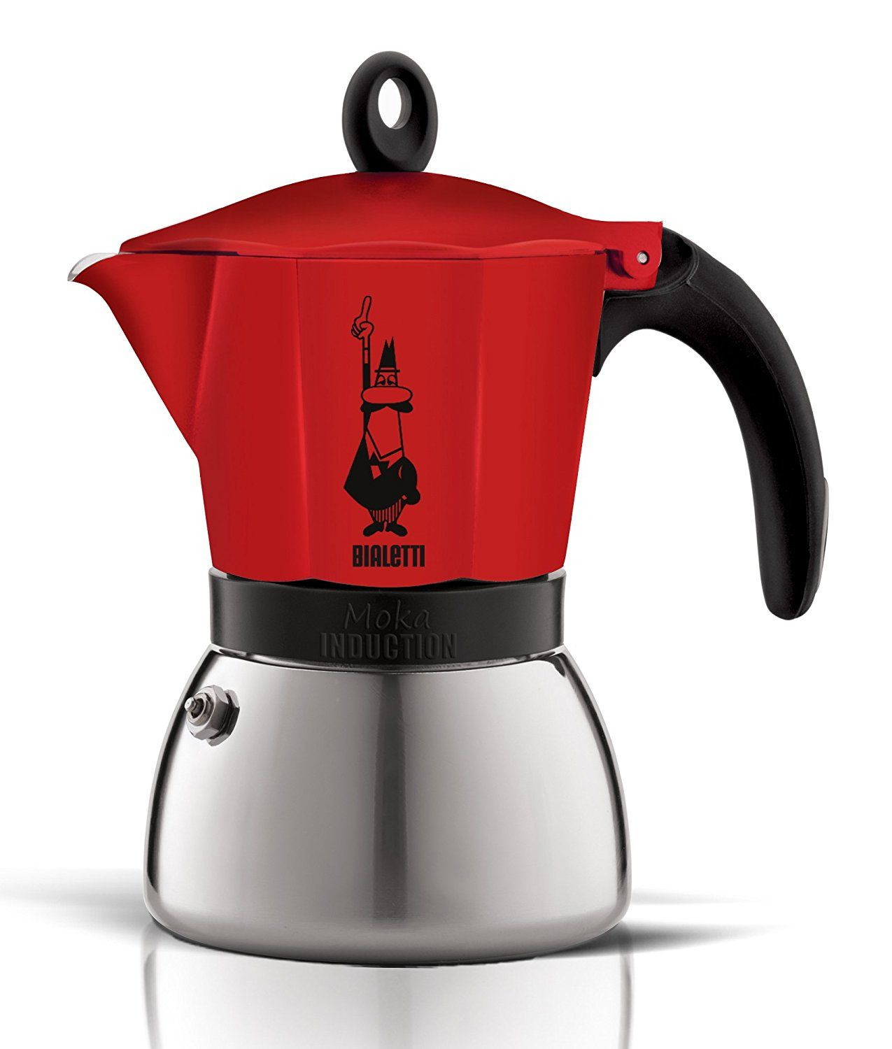 Bialetti Moka Induction Coffee Maker Red 6 Cup Bialetti Home Coffee Machines Coffee Maker