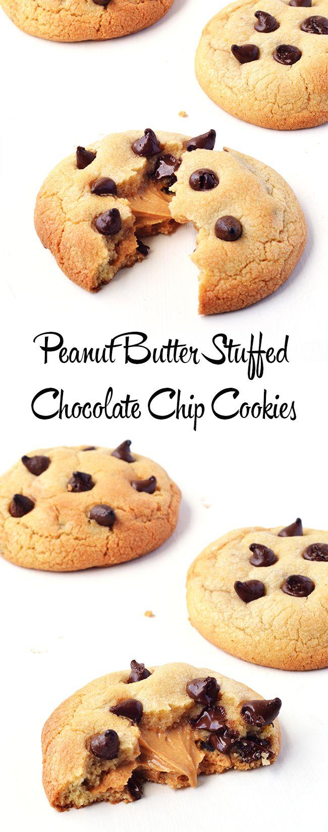 Peanut Butter Stuffed Chocolate Chip Cookies | via sweetestmenu.com