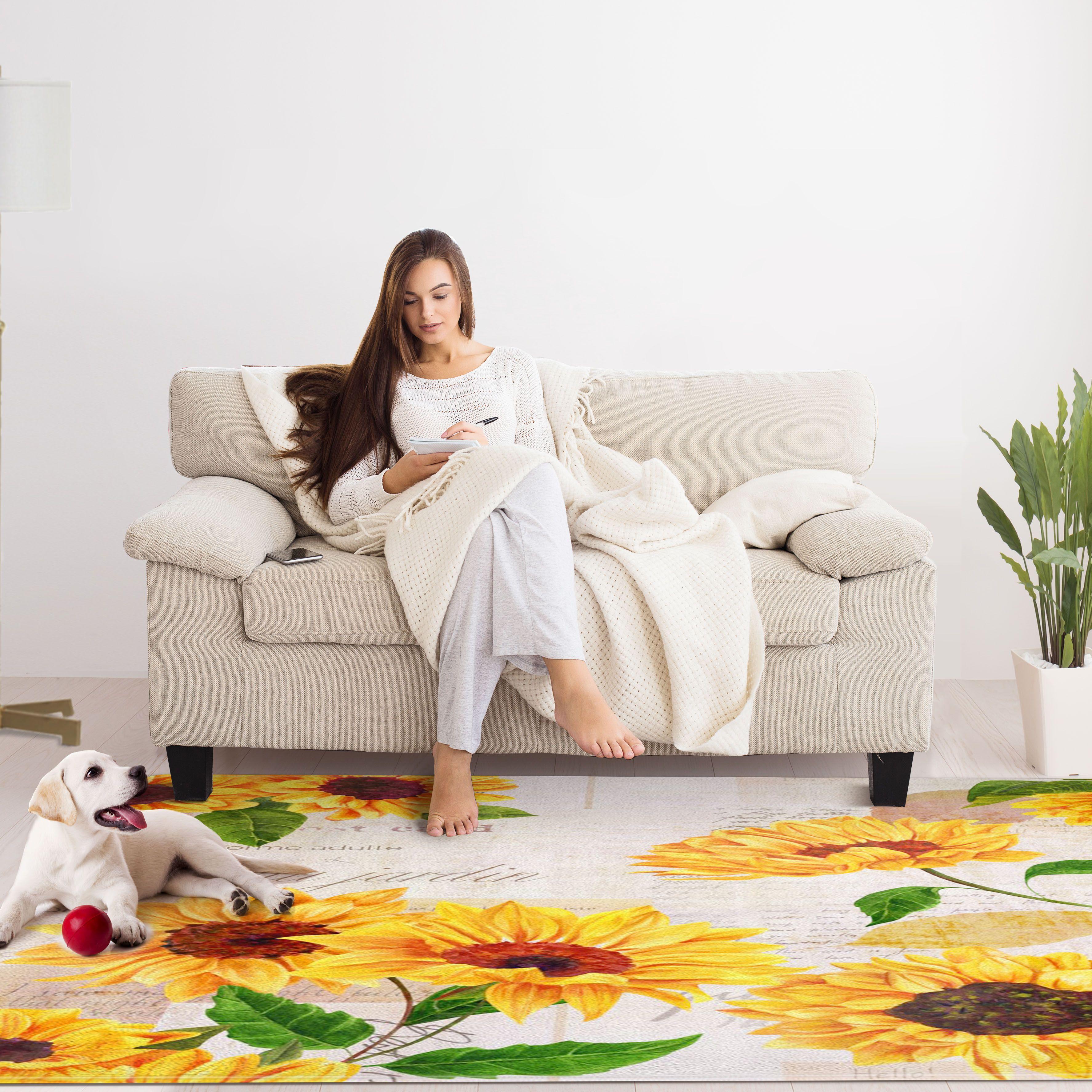 Non Slip Area Rugs Sunflower Rug 5 X7 Sunflower Room Area Rugs Large Rugs #sunflower #living #room #rug