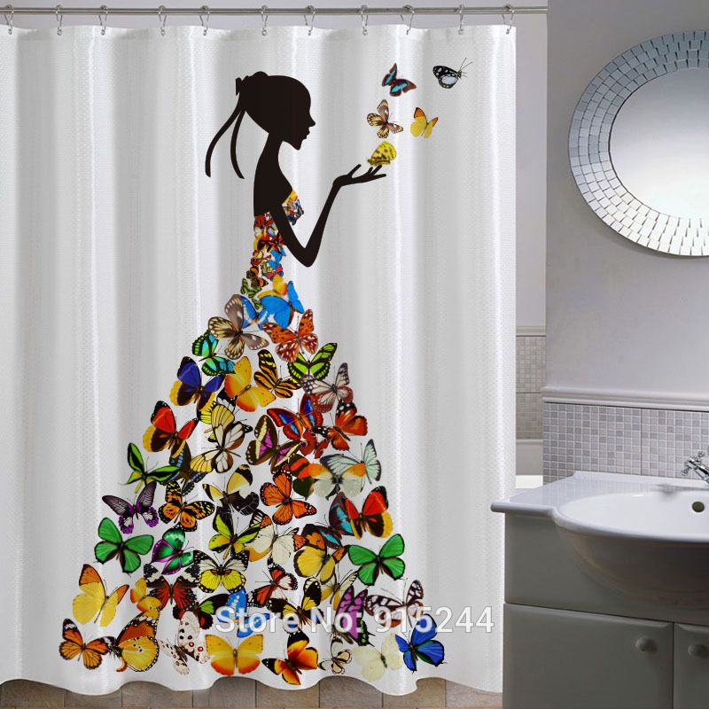 Find More Information About Fashion Thickening Waterproof Colorful  Butterfly Shower Curtain Beautiful Women Printed Bathroom Black
