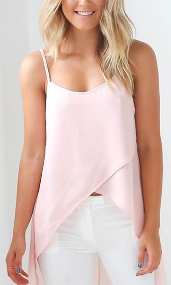 ce9223288fdbc4 No Regrets Pink Spaghetti Strap Scoop Neck Cross Wrap Chiffon High Low Tank  Top