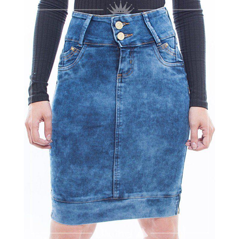 81cb85623c Saia media reta jeans lavado