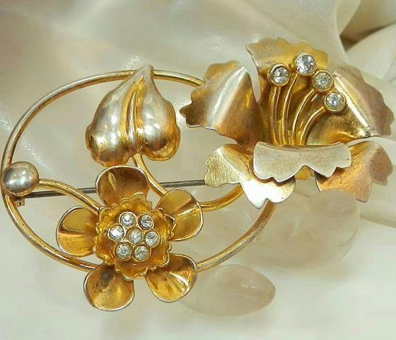 7f3d29c4312 Beautiful Large Vintage 40's Rhinestone Art Deco Sterling Flower Brooch  370S5