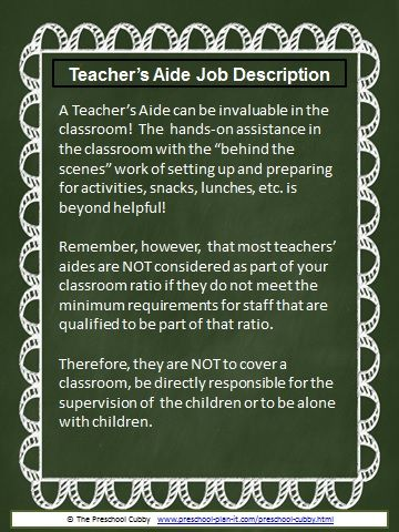 Preschool Job Description Resource Templates  Admin  Preschool jobs Preschool Teachers aide
