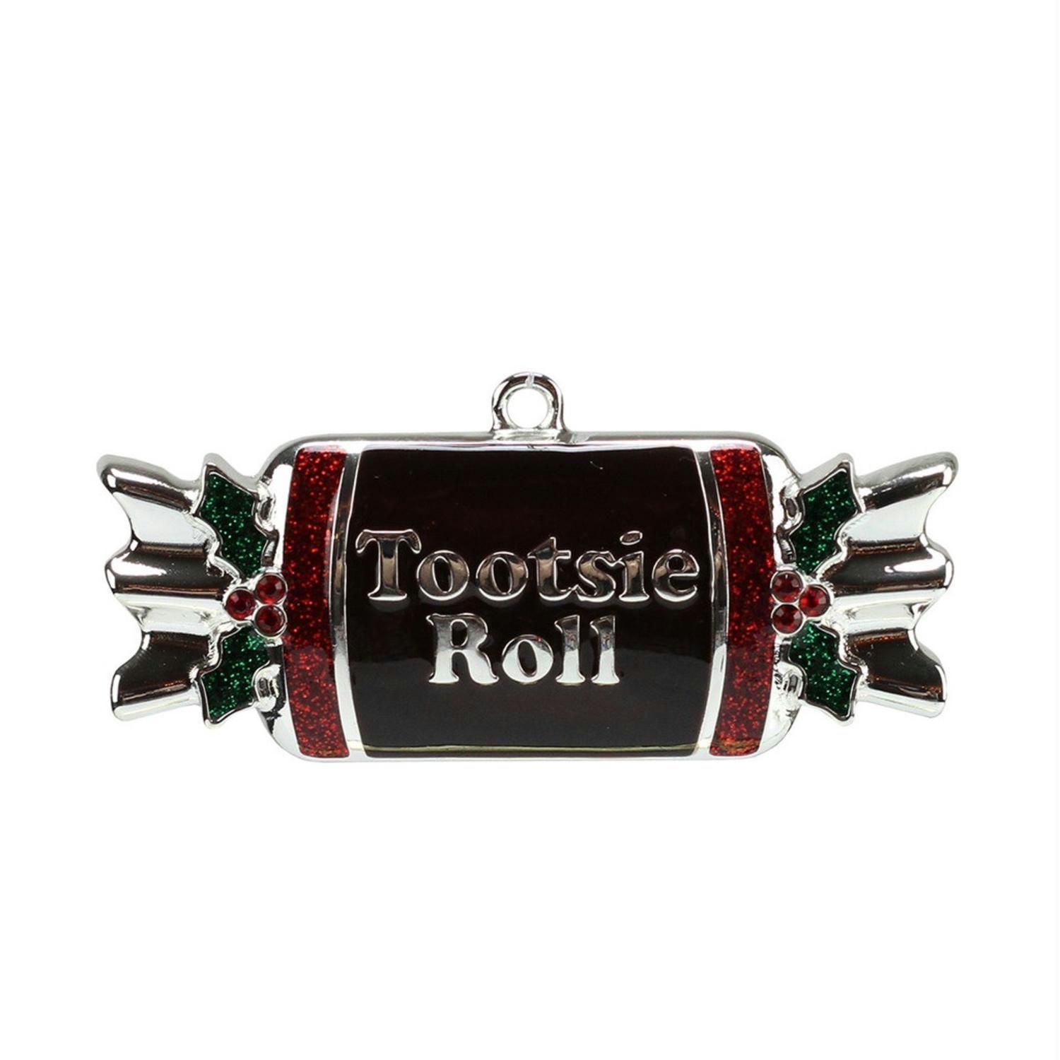 325 Silver Plated Tootsie Roll Candy Shaped Logo Christmas Ornament