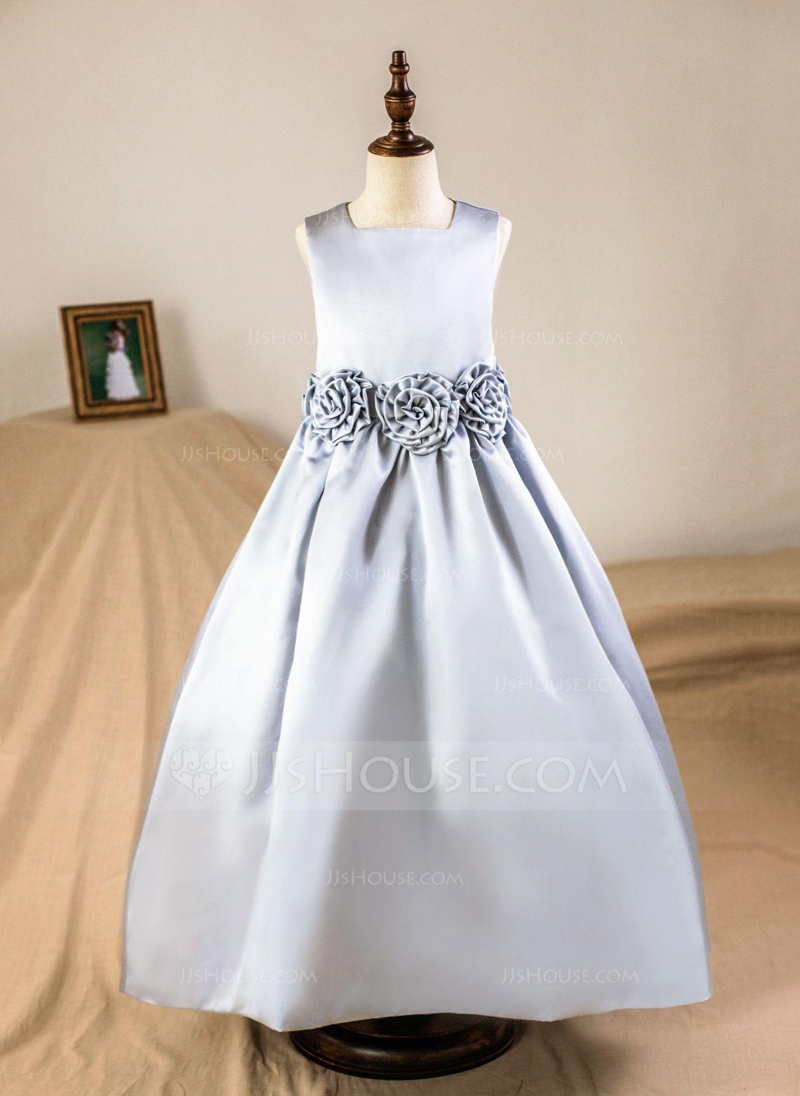 094b76ca5 A-Line/Princess Square Neckline Floor-length Flower(s) Satin Sleeveless Flower  Girl Dress (Petticoat NOT included) Flower Girl Dress
