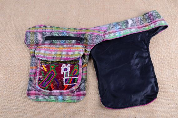 Guatemalan Double Saddle Bag Fanny Pack in Pink by mezoCULTURE