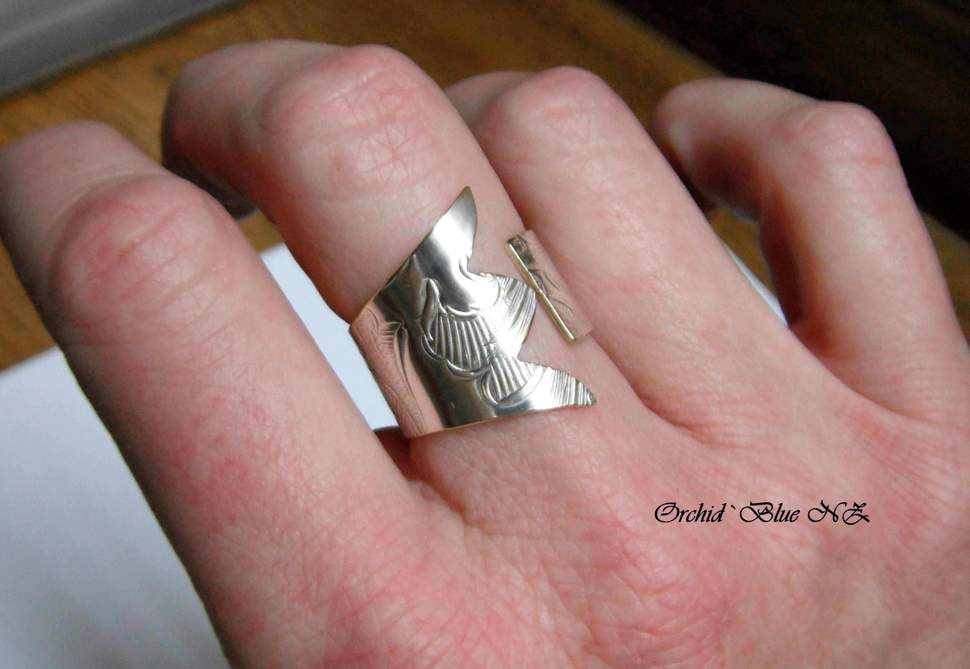 Orchid Blue NZ on Facebook .. Ring hand cut from a Vintage Silver ...