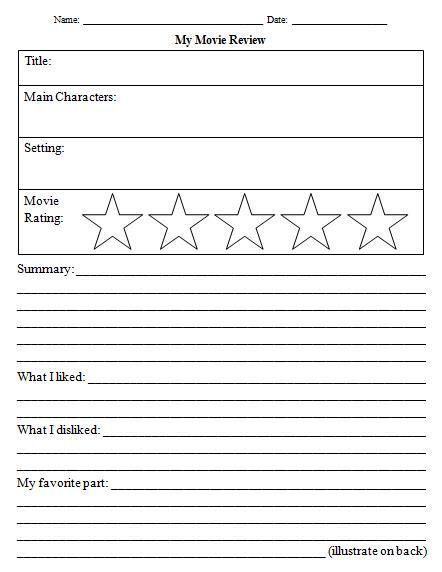 14 Awesome Movie Review Template Worksheet Images | Grade 1
