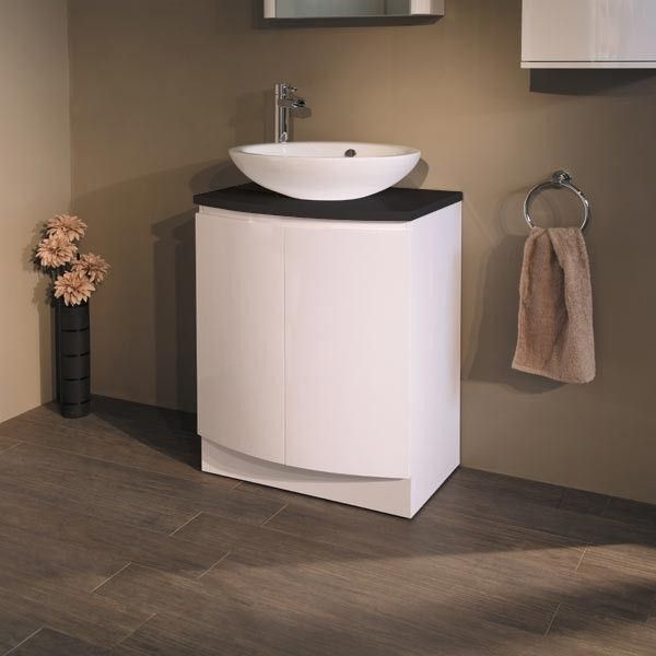 Voss 620 Floor Mounted Black Countertop Vanity Unit   Black And White  Bathroom Ideas   Black