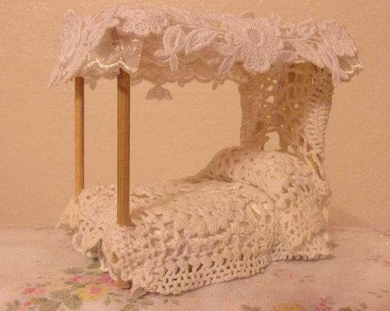 Handmade Woodland Fairy Garden Furniture Vintage Doily Canopy Bed By Willow Bloome & Handmade Woodland Fairy Garden Furniture by ShabbyObsessions ...