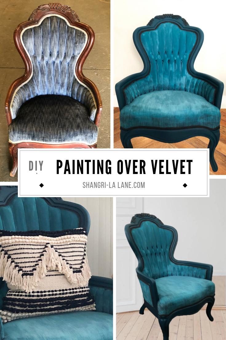 How To Paint Over Velvet Shangri La Lane Velvet Furniture Painting Fabric Furniture Upholstery Diy