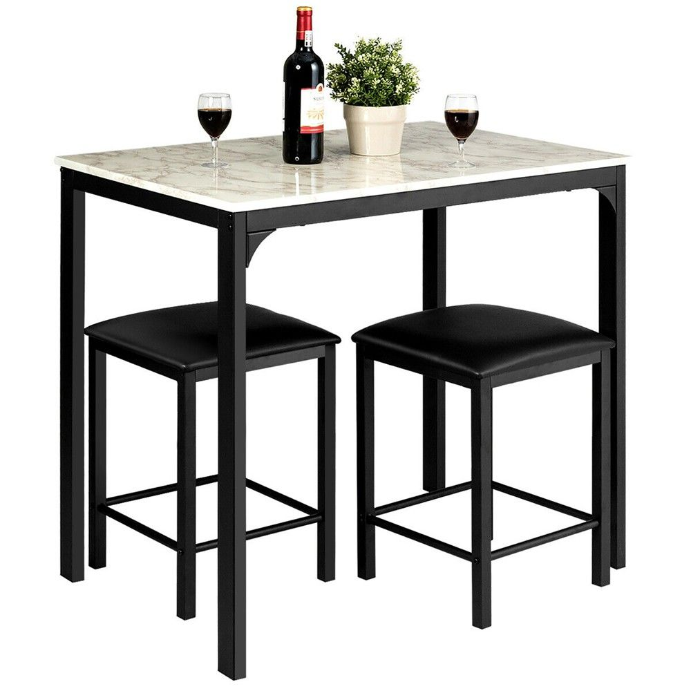 Costway 3 Piece Counter Height Dining Set Faux Marble Table And 2 Chairs Kitchen Bar In 2021 Contemporary Dining Table Set Counter Height Dining Sets Marble Table 3 piece counter height table set