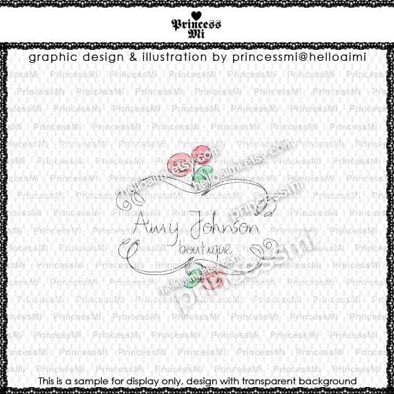 Custom Premade Logo Design - sketch hand drawn flower border logo photography business boutique logo by princess mi logo1216-8. $40.00, via Etsy.