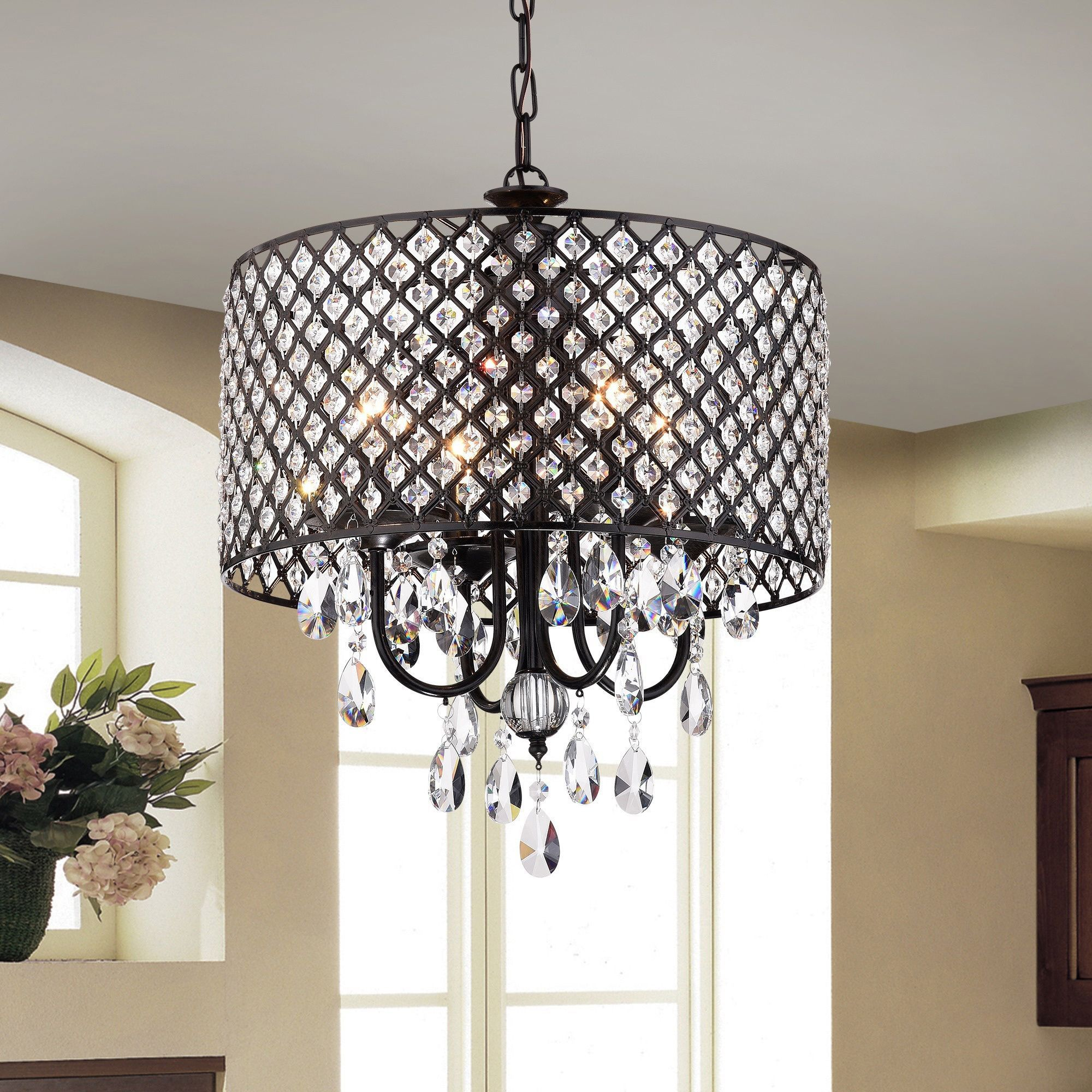 Warehouse of Tiffany Monet 4 lights Black finished 17 inch Crystal