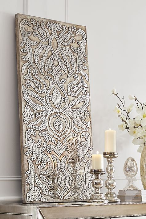 Champagne Mirrored Mosaic Damask Wall Panel in 2019 | home ...
