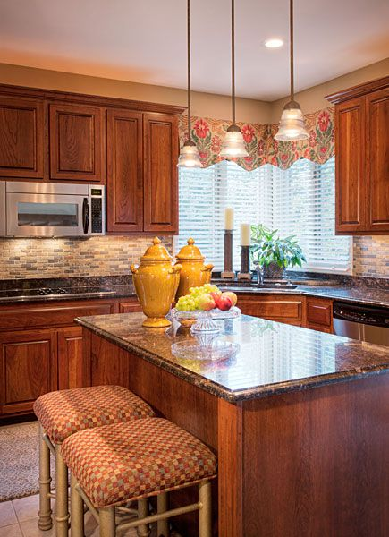 Kitchen, Cool Picture Design Red Color Brick Backsplash Designs Good Three Hanging Lamps Good Kitchen Island Nice Kitchen Shelves Good Two Chairs: Designs Your Kitchen With The Cool Concept Of Red Brick Backsplash