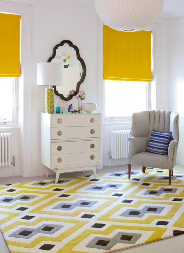 Yellow Roman Shades Love That Mirror Design Rug