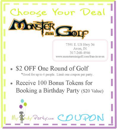 photo relating to Monster Mini Golf Coupons Printable named Monster Mini Golfing - Avon $2 Off a Spherical of Mini Golfing Indy