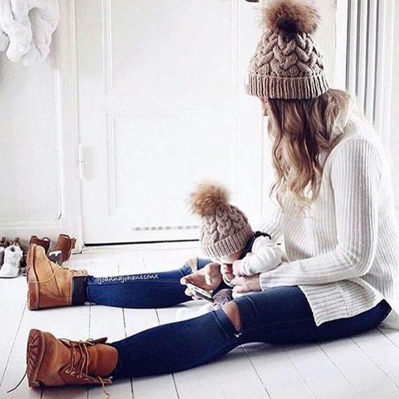 586b4d32b7eb0 2Pcs Mother And Daughter Wool Knit Beanie Ski Cap Baggy Womens Winter Warm  Hat