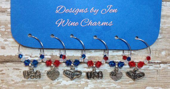 Patriotic Wine Charms Swarovski Crystal Set of 6 by DesignsByJen1,