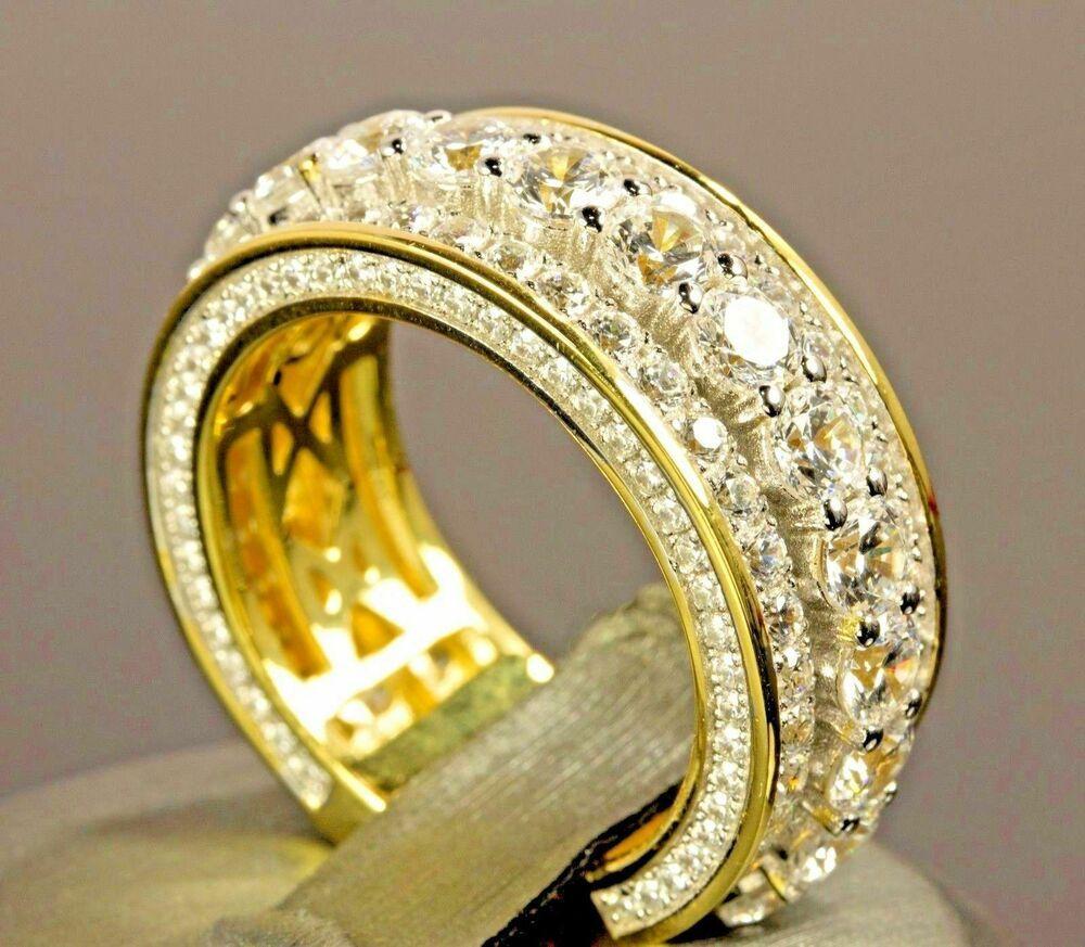 3cdef20a6e421 2Ct Round Cut D/VVS1 Diamond Engagement Band Ring 14K Yellow Gold ...