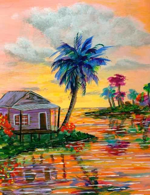 Island Paradise palm trees Sunset Cottage Retro Faux by KeROBinson, $75.00