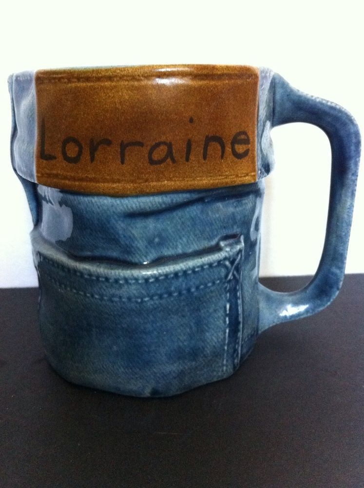 Collectible levis denim jean ceramic blue coffee mugcup