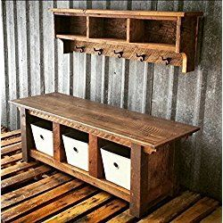 Reclaimed Barnwood Three Cubby Pallet Wood Bench U0026 Shelf Cubby Set   I  Totally LOVE This And Want This For The Foyer In My House!