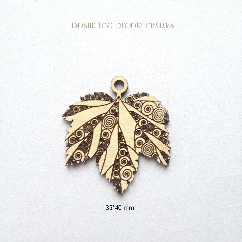 cute laser cut wood currant leaves pendants / wood jewelry